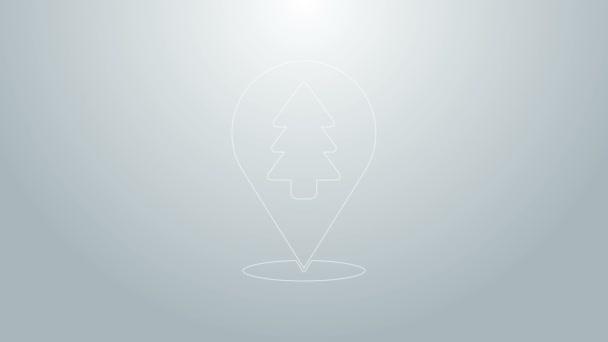 Blaue Linie Lage des Waldes auf einem Kartensymbol auf grauem Hintergrund. 4K Video Motion Grafik Animation