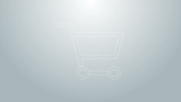 Blue line Shopping cart icon isolated on grey background. Online buying concept. Delivery service sign. Supermarket basket symbol. 4K Video motion graphic animation