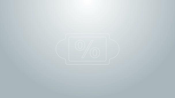 Kék vonal Kedvezményes százalékos címke ikon elszigetelt szürke háttér. Bevásárlócédula. Különleges ajánlat jel. Kedvezményes kuponok szimbólum. 4K Videó mozgás grafikus animáció