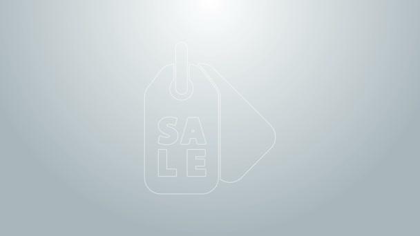 Kék vonal Árcédula felirattal Eladó ikon elszigetelt szürke háttér. A jelvény ára. Promo tag kedvezmény. 4K Videó mozgás grafikus animáció