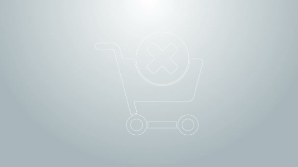 Blue line Remove shopping cart icon isolated on grey background. Online buying concept. Delivery service. Supermarket basket and X mark. 4K Video motion graphic animation