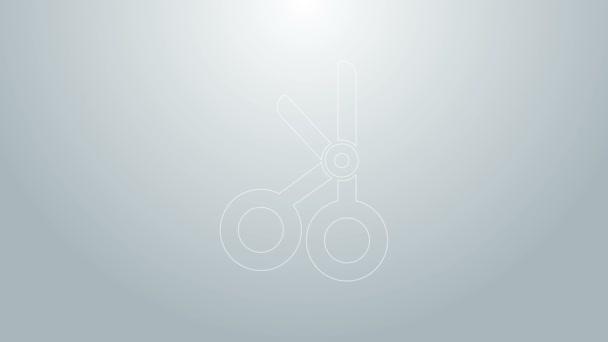 Kék vonal Orvosi olló ikon elszigetelt szürke háttér. 4K Videó mozgás grafikus animáció