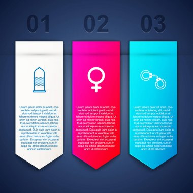 Set Condom safe sex, Female gender symbol and Sexy fluffy handcuffs. Business infographic template. Vector. icon