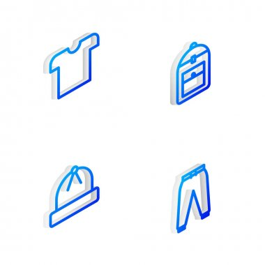 Set Isometric line Backpack, T-shirt, Winter hat and Sport pants icon. Vector. icon