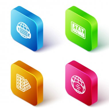 Set Isometric line Earth with medical mask, Stay home, Pills in blister pack and  icon. Vector icon