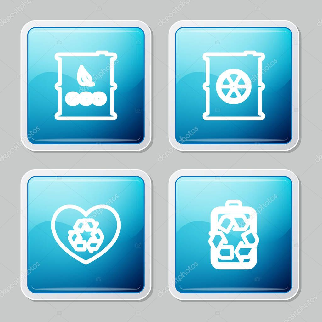 Set line Bio fuel barrel  Radioactive waste in  Eco friendly heart and Battery with recycle icon icon