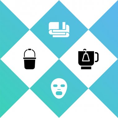 Set Sauna bucket, Facial cosmetic mask, Towel stack and Cup of tea with tea bag icon. Vector icon