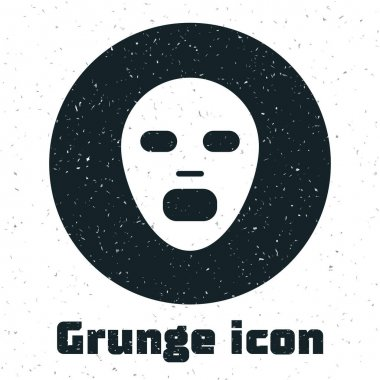 Grunge Facial cosmetic mask icon isolated on white background. Cosmetology, medicine and health care. Monochrome vintage drawing. Vector icon