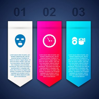 Set Facial cosmetic mask, Sauna clock and Toilet paper roll. Business infographic template. Vector icon