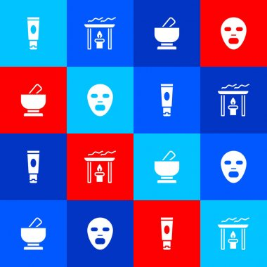 Set Cream or lotion cosmetic tube, Aroma candle, Mortar pestle and Facial mask icon. Vector icon