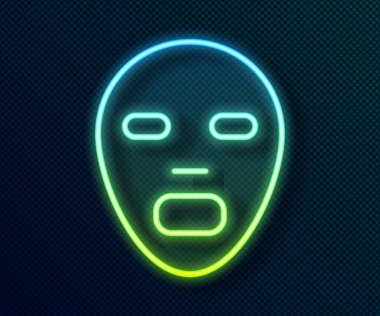 Glowing neon line Facial cosmetic mask icon isolated on black background. Cosmetology, medicine and health care.  Vector icon
