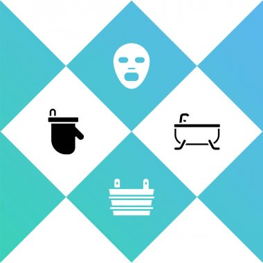 Set Sauna mittens, bucket, Facial cosmetic mask and Bathtub icon. Vector icon