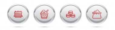 Set line Cake, Ice cream in bowl, Macaron cookie and Bag of flour. Silver circle button. Vector icon
