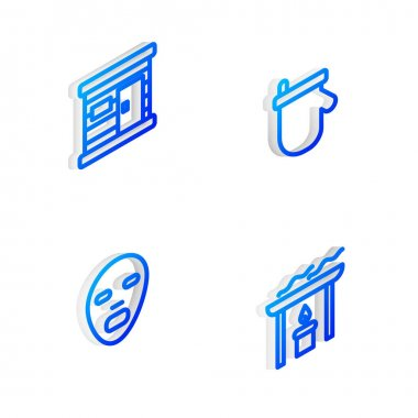 Set Isometric line Sauna mittens, wooden bathhouse, Facial cosmetic mask and Aroma candle icon. Vector icon