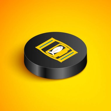 Isometric line Bag of food for cat icon isolated on yellow background. Fish skeleton sign. Food for animals. Pet food package. Black circle button. Vector icon