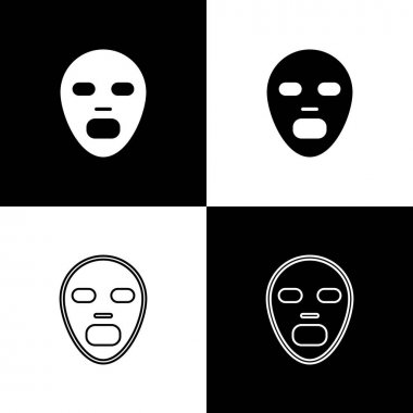 Set Facial cosmetic mask icon isolated on black and white background. Cosmetology, medicine and health care.  Vector icon