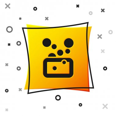 Black Bar of soap icon isolated on white background. Soap bar with bubbles. Yellow square button. Vector icon