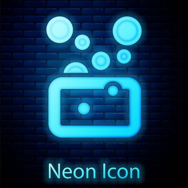 Glowing neon Bar of soap icon isolated on brick wall background. Soap bar with bubbles.  Vector icon