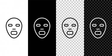 Set line Facial cosmetic mask icon isolated on black and white,transparent background. Cosmetology, medicine and health care.  Vector icon