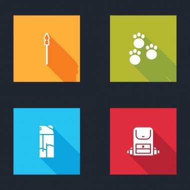 Set Medieval spear, Paw print, Lighter and Hiking backpack icon. Vector. icon