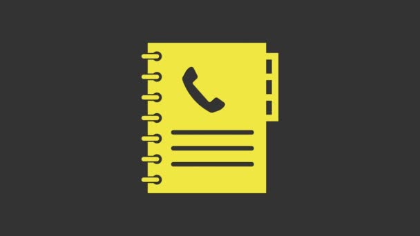 Yellow Phone book icon isolated on grey background. Address book. Telephone directory. 4K Video motion graphic animation