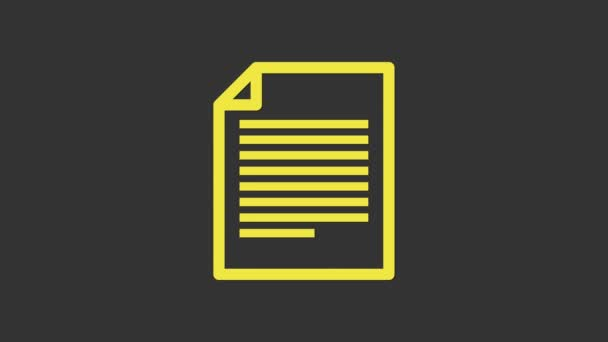 Gelbes Dokument-Symbol isoliert auf grauem Hintergrund. Datei-Symbol. Checklisten-Symbol. Geschäftskonzept. 4K Video Motion Grafik Animation