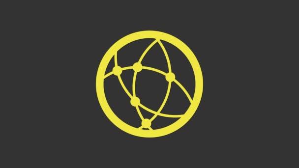 Gelbe Globale Technologie oder soziales Netzwerk-Symbol isoliert auf grauem Hintergrund. 4K Video Motion Grafik Animation