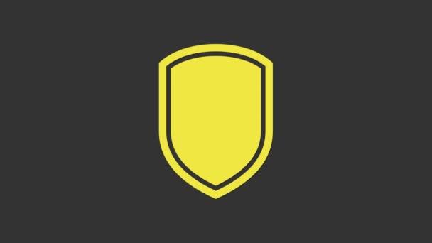 Gelbes Schild-Symbol isoliert auf grauem Hintergrund. Wachschild. 4K Video Motion Grafik Animation