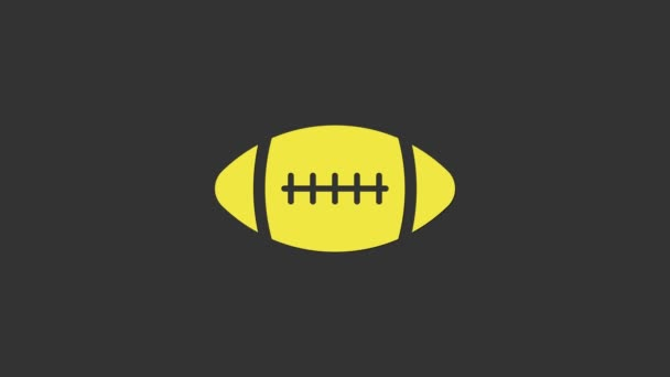 Yellow American Football ball icon isolated on grey background. 4K Video motion graphic animation
