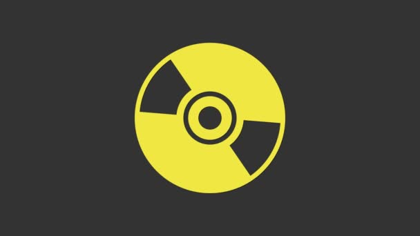Yellow CD or DVD disk icon isolated on grey background. Compact disc sign. 4K Video motion graphic animation