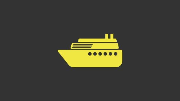 Yellow Ship icon isolated on grey background. 4K Video motion graphic animation