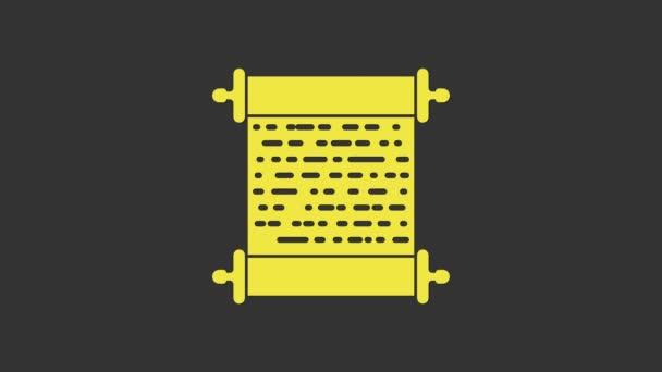 Gelbes Papierrollen-Symbol isoliert auf grauem Hintergrund. Leinwandscrollzeichen. 4K Video Motion Grafik Animation