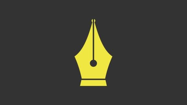 Gelbe Füllfederfeder-Symbol isoliert auf grauem Hintergrund. Stift-Werkzeug-Zeichen. 4K Video Motion Grafik Animation
