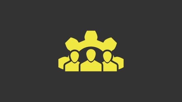 Yellow Project csapat bázis ikon elszigetelt szürke háttér. Üzleti elemzés és tervezés, tanácsadás, csapatmunka, projektmenedzsment. 4K Videó mozgás grafikus animáció