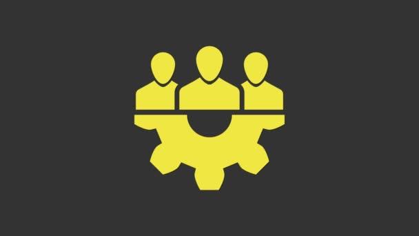 Gelbes Basissymbol des Projektteams isoliert auf grauem Hintergrund. Geschäftsanalyse und -planung, Beratung, Teamarbeit, Projektmanagement. Entwickler. 4K Video Motion Grafik Animation