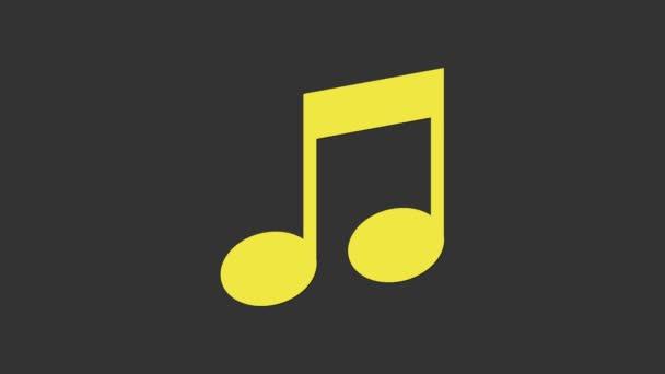 Sárga Zene hang, hang ikon elszigetelt szürke háttérrel. 4K Videó mozgás grafikus animáció