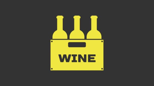 Yellow Bottles of wine in a wooden box icon isolated on grey background. Wine bottles in a wooden crate icon. 4K Video motion graphic animation