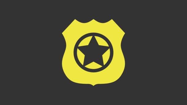 Sárga rendőrségi jelvény ikon elszigetelt szürke háttér. Seriff jelvény. 4K Videó mozgás grafikus animáció