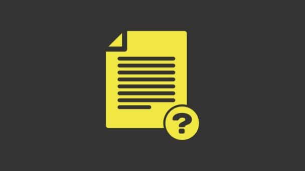 Sárga Ismeretlen dokumentum ikon elszigetelt szürke háttér. Akta kérdőjellel. Tartózkodási jelentés, szolgáltatás és globális keresési jel. 4K Videó mozgás grafikus animáció