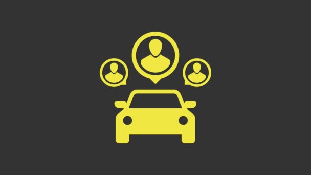 Yellow Car sharing with group of people icon isolated on grey background. Carsharing sign. Transport renting service concept. 4K Video motion graphic animation