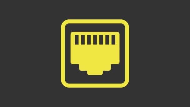 Gelber Netzwerkanschluss - Kabelbuchsensymbol isoliert auf grauem Hintergrund. LAN, Ethernet-Port-Zeichen. Das lokale Steckersymbol. 4K Video Motion Grafik Animation