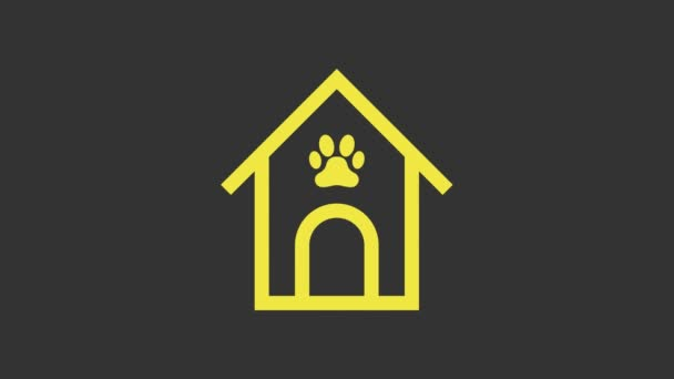 Yellow Dog house and paw print pet icon isolated on grey background. Dog kennel. 4K Video motion graphic animation