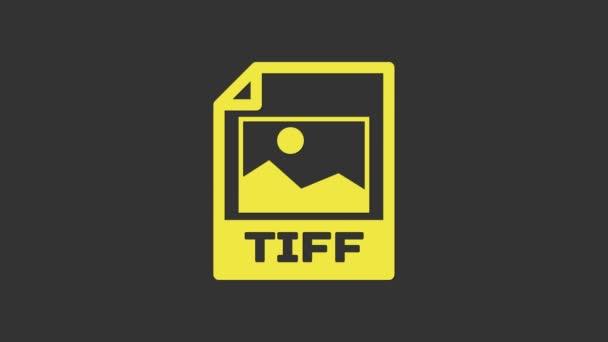 Žlutý dokument TIFF. Stáhnout ikonu tlačítka Tiff izolované na šedém pozadí. Symbol souboru TIFF. Grafická animace pohybu videa 4K