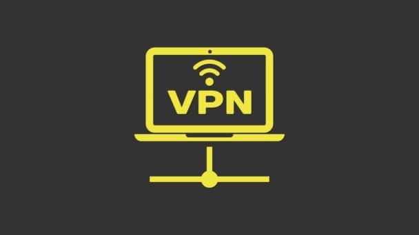 Gelbes VPN Computernetzwerk-Symbol isoliert auf grauem Hintergrund. Laptop-Netzwerk. Internetverbindung. 4K Video Motion Grafik Animation