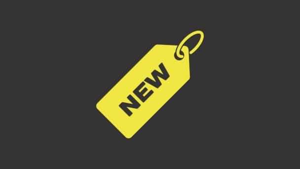 Sárga árcédula felirattal Új ikon szürke háttérrel. A jelvény ára. Promo tag kedvezmény. 4K Videó mozgás grafikus animáció