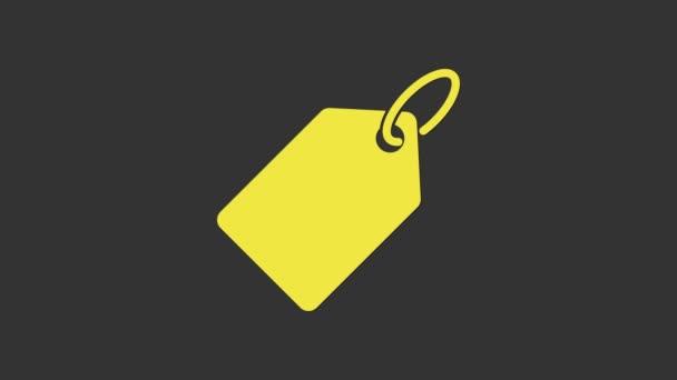 Sárga Üres címke sablon ár címke ikon elszigetelt szürke háttér. Üres vásárlási kedvezmény matrica. Sablon kedvezményes banner. 4K Videó mozgás grafikus animáció