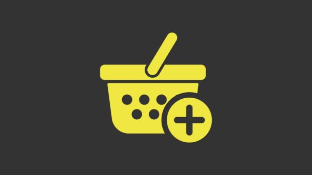 Yellow Add to Shopping basket icon isolated on grey background. Online buying concept. Delivery service sign. Supermarket basket symbol. 4K Video motion graphic animation
