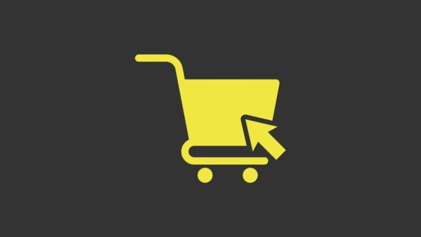 Yellow Shopping cart with cursor icon isolated on grey background. Online buying concept. Delivery service sign. Supermarket basket symbol. 4K Video motion graphic animation