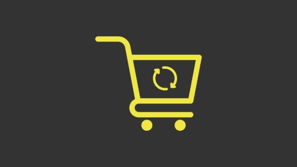 Yellow Refresh shopping cart icon isolated on grey background. Online buying concept. Delivery service sign. Update supermarket basket symbol. 4K Video motion graphic animation