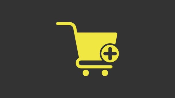 Yellow Add to Shopping cart icon isolated on grey background. Online buying concept. Delivery service sign. Supermarket basket symbol. 4K Video motion graphic animation